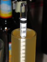 The hydrometer reads 1.008.